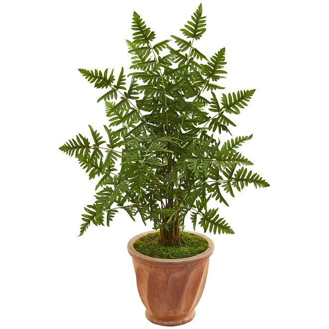 Nearly Natural Ruffle Fern Palm Artificial Tree in Terra Cotta Planter