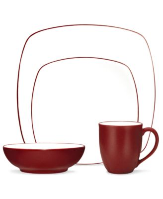 Noritake Dinnerware, Colorwave Raspberry Square 4 Piece Place Setting