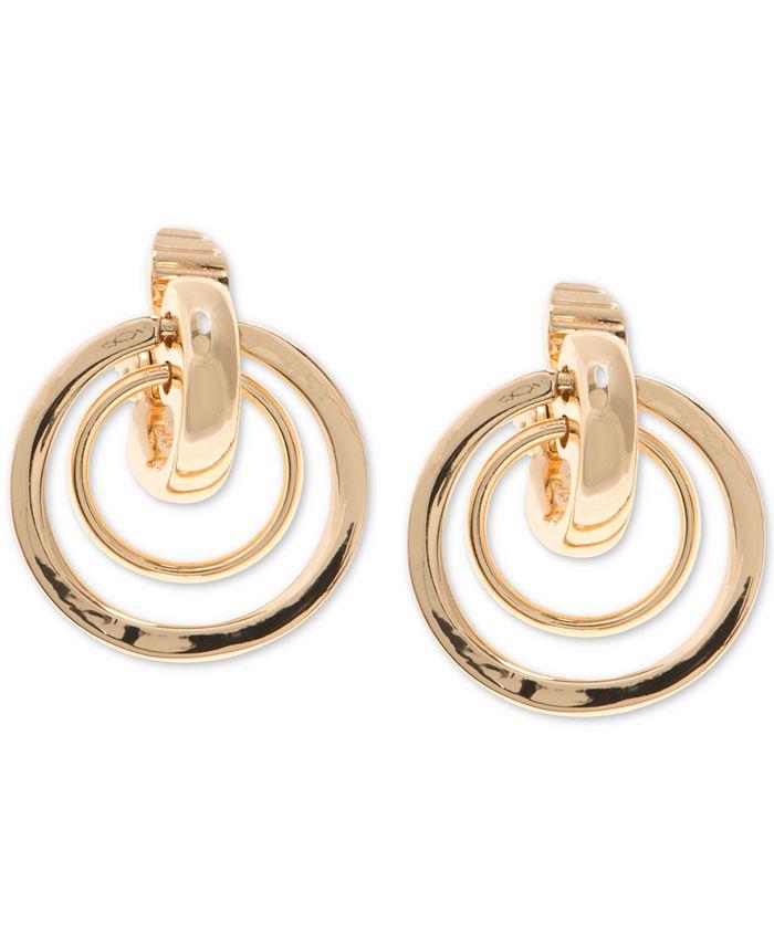 Anne Klein - Gold-Tone Orbital Clip-On Drop Earrings