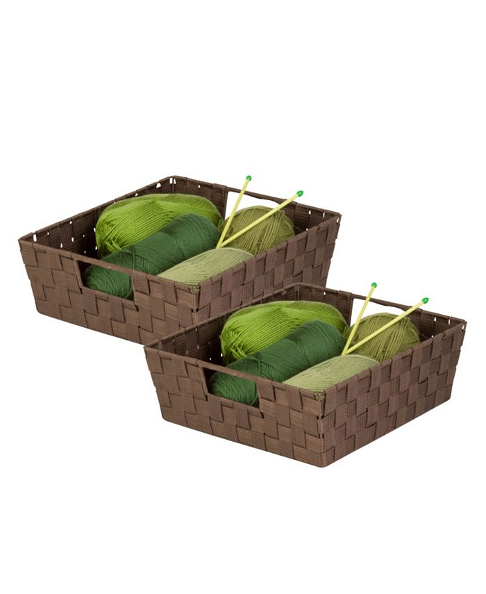 Honey Can Do - Set of 2 Woven Trays, Chocolate