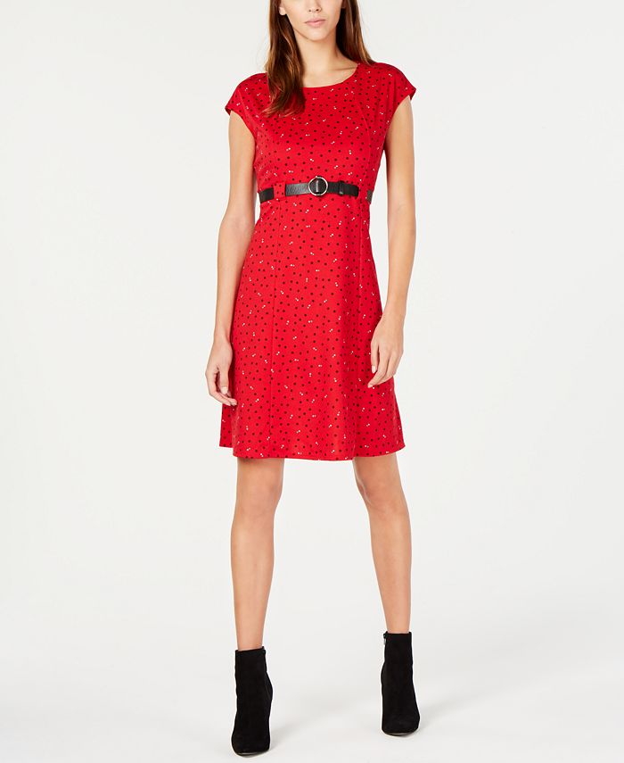 NY Collection - Petite Printed Belted Fit & Flare Dress