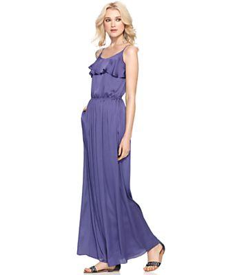 BCBGeneration Dress, Sleevless Scoop Neck Ruffle Pocket A Line Maxi