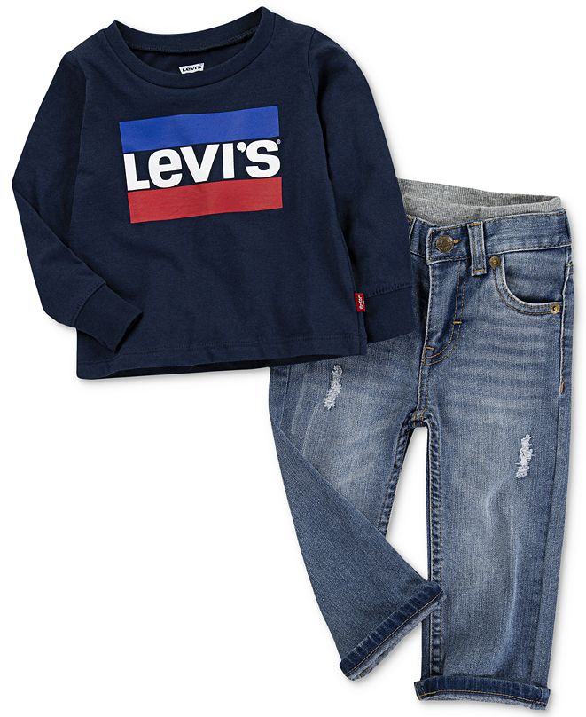 Levi's Baby Boys Logo-Print Cotton T-Shirt & Pull-On Jeans Separates