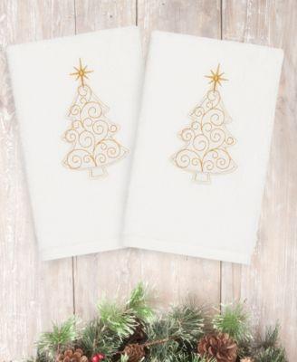 Christmas Tree Scroll 100% Turkish Cotton 2-Pc. Hand Towel Set