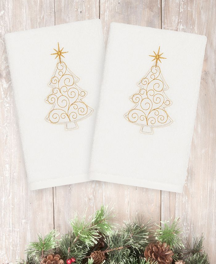 Linum Home - Textiles Christmas Scroll Tree - Embroidered Luxury 100% Turkish Cotton Hand Towels Set of 2