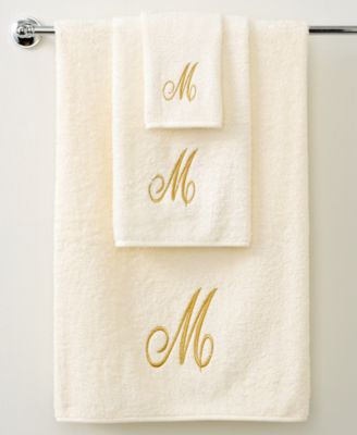 Towels, Monogram Initial Script Ivory and Gold 11