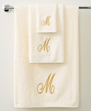 "avanti bath towels, initial script ivory and gold 11"" x 18"" fingertip"