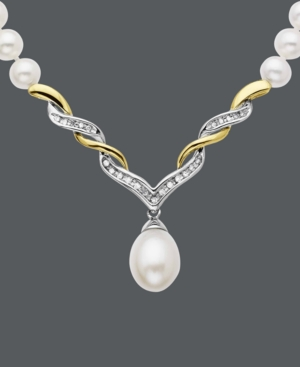 14k Gold and Sterling Silver Necklace, Cultured Freshwater Pearl and Diamond (1 ct. t.w.) Swirl Necklace