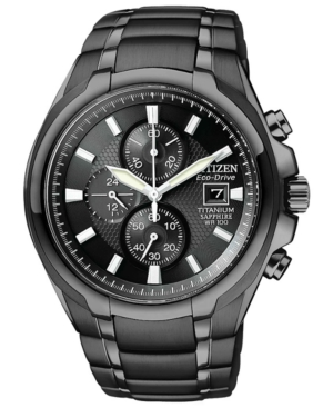 Citizen Men's Chronograph Eco-Drive Black Titanium Carbide Ion-Plated Bracelet Watch 42mm CA0265-59E