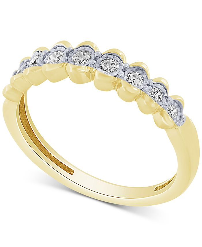 Macy's - Diamond Scalloped Band (1/5 ct. t.w.) in 10k Gold