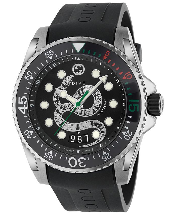 Gucci - Men's Swiss Dive Black Rubber Strap Watch 45mm