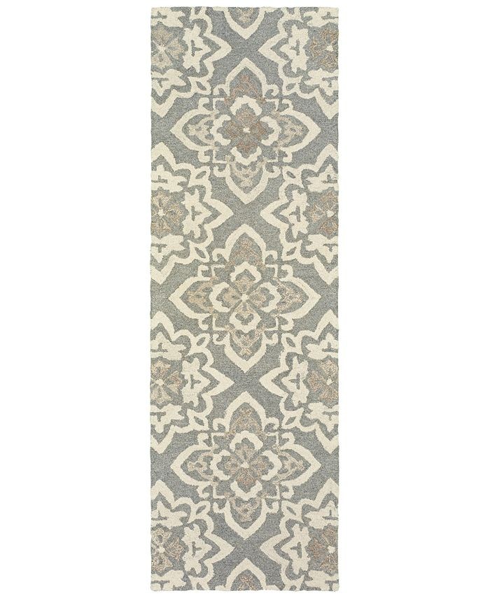 "Oriental Weavers - Craft 93004 Gray/Sand 2'6"" x 8' Runner Area Rug"