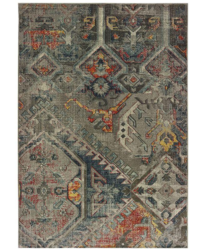"Oriental Weavers Mantra 1X Gray/Multi 2'3"" x 7'6"" Runner Area Rug"