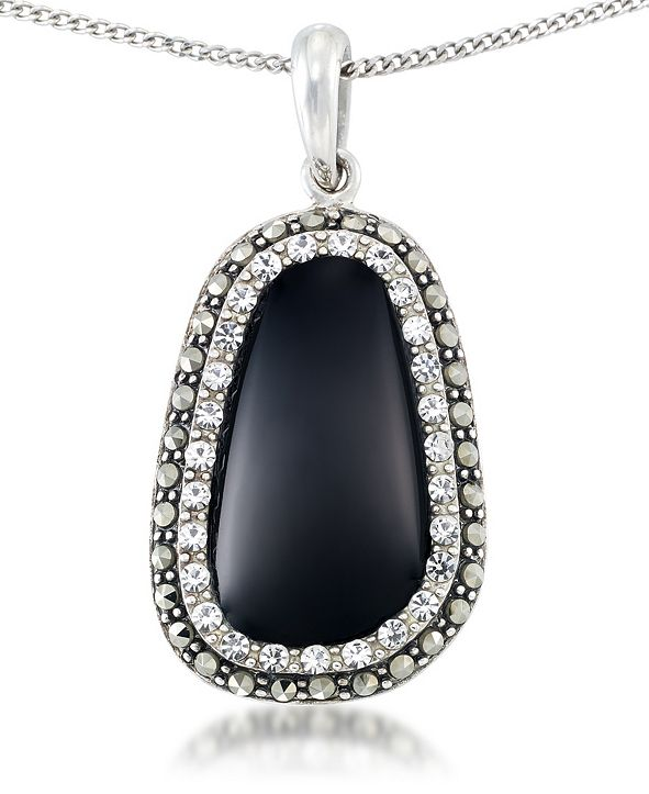 """Macy's Onyx (19 x 11mm), Crystal & Marcasite Pendant on 18""""Chain in Sterling Silver"""