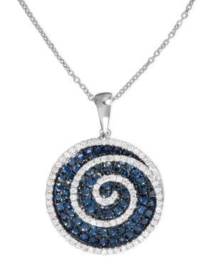 Bella Bleu by Effy Collection 14k White Gold Necklace, Blue and White Diamond Swirl Pendant (1-3/4 ct. t.w.)