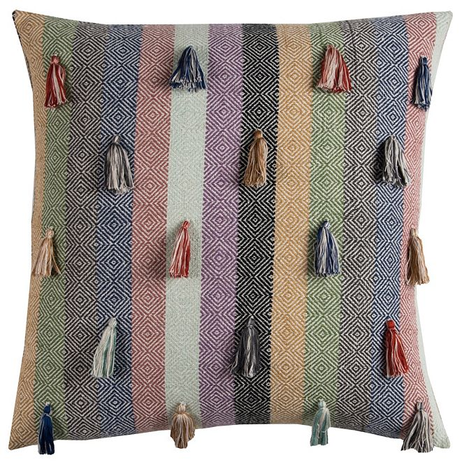 """Rizzy Home 20"""" x 20"""" Striped Tassled Pillow Cover"""