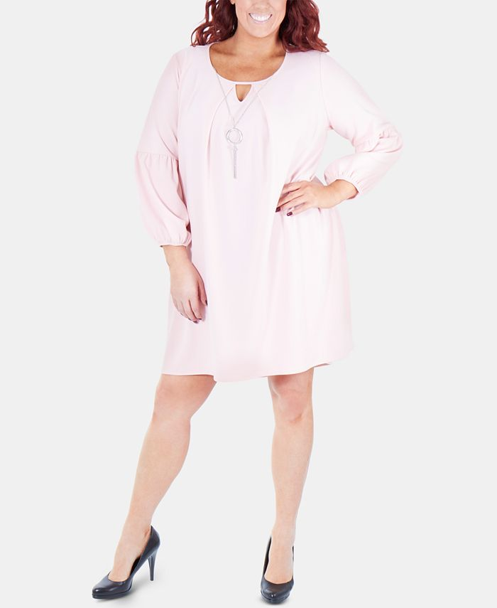 NY Collection - Plus Size Balloon-Sleeve Shift Dress With Necklace