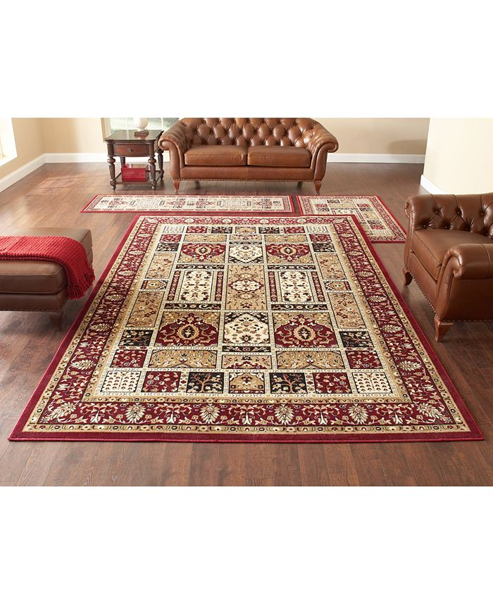 KM Home - Area Rug Set, Roma Collection 3 pc set Panel Red