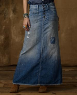 Denim & Supply Ralph Lauren Skirt, Long Denim Maxi, San Kurabo Wash