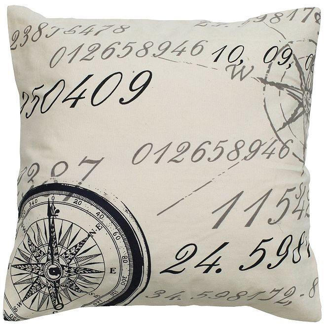 """Rizzy Home 20"""" x 20"""" Script with Compass Down Filled Pillow"""