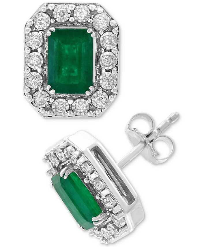 EFFY Collection - Emerald (1-9/10 ct. t.w.) & Diamond (1/5 ct. t.w.) Earrings in 14k White Gold