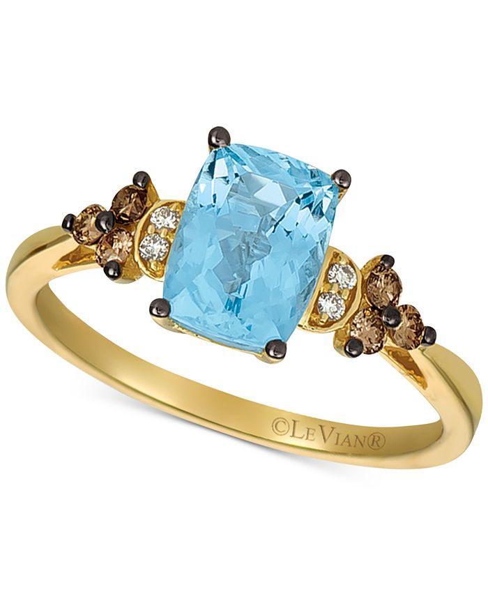 Le Vian - Sea Blue Aquamarine® (1-1/4 ct. t.w.) & Diamond (1/6 ct. t.w.) Statement Ring in 14k Gold