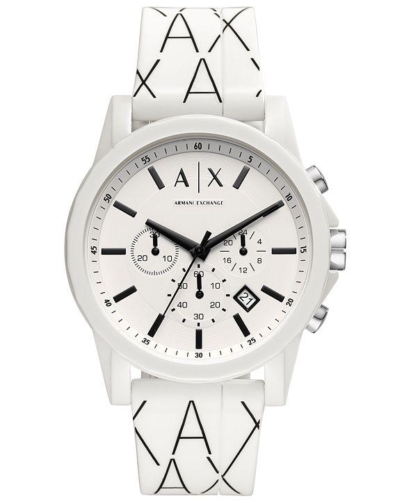 A|X Armani Exchange Men's Chronograph Black & White Silicone Strap Watch 44mm