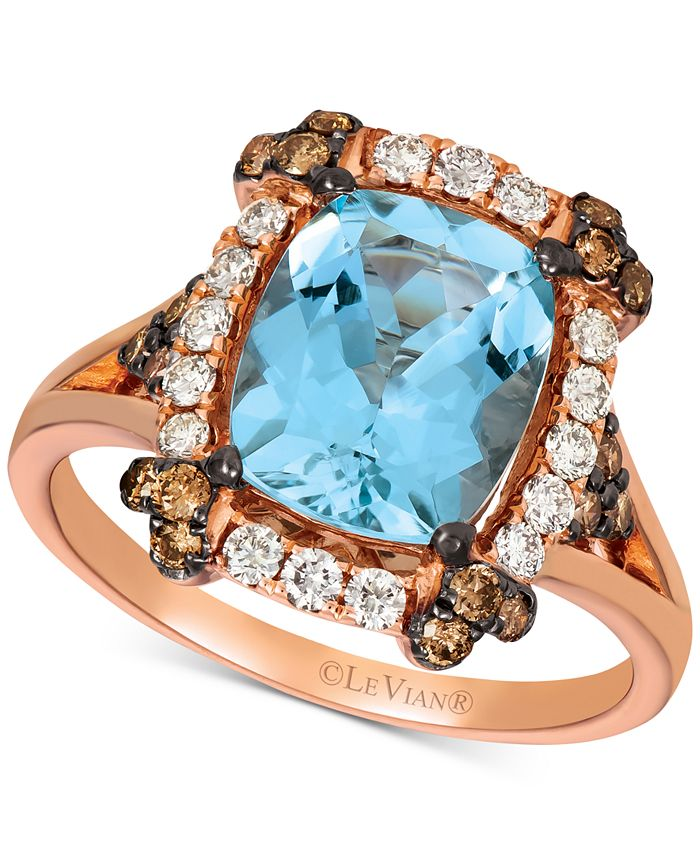 Le Vian - Aquamarine (2-1/5 ct. t.w.) & Diamond (5/8 ct. t.w.) Ring in 14k Rose Gold