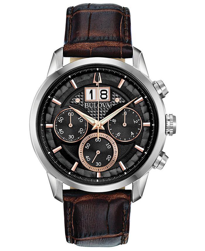 Bulova - Men's Chronograph Sutton Brown Leather Strap Watch 44mm