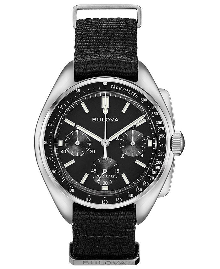 Bulova - Men's Chronograph Lunar Pilot Archive Series Black Polyester Strap Watch 45mm