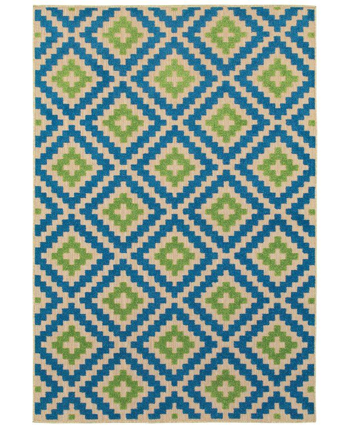 """Oriental Weavers - Cayman 2063Z Sand/Blue 9'10"""" x 12'10"""" Indoor/Outdoor Area Rug"""