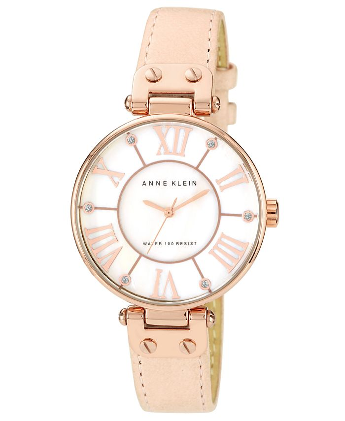 Anne Klein - Watch, Women's Peach Leather Strap 34mm 10-9918RGLP