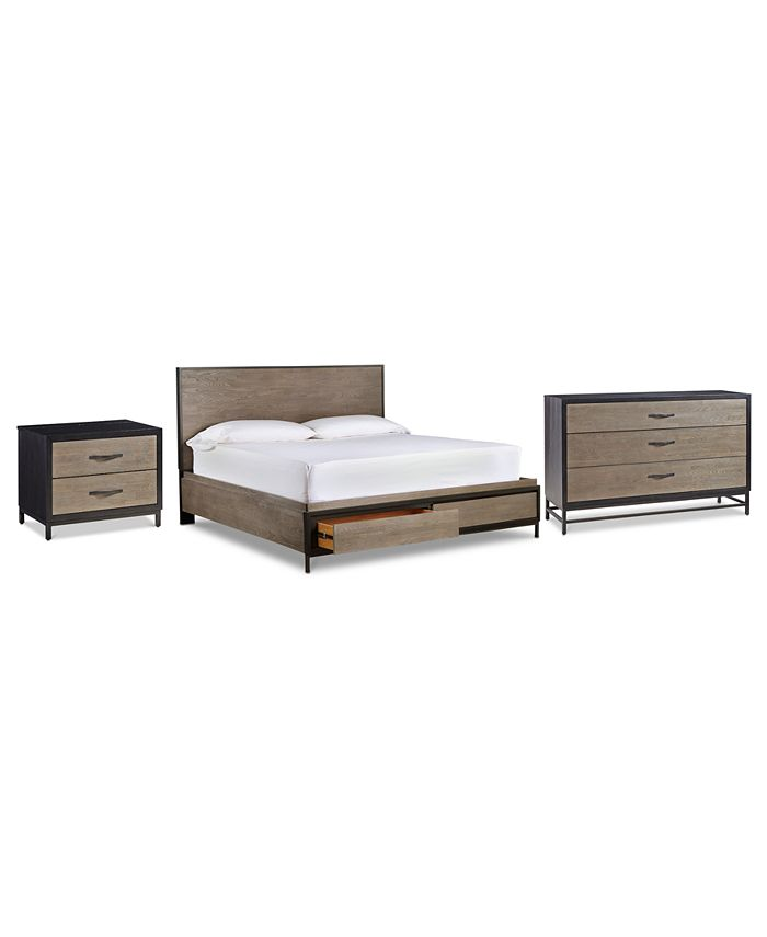 Furniture - Avery Brown Storage Bedroom , 3-Pc. Set (Queen Bed, Dresser & Nightstand)