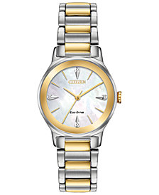 Citizen Eco-Drive Women's Axiom Two-Tone Stainless Steel Bracelet Watch 28mm