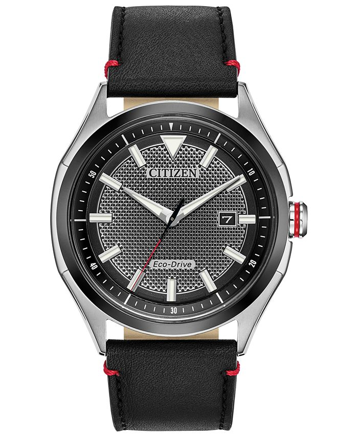 Citizen - Men's WDR Black Leather Strap Watch 41mm