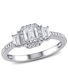 Certified Diamond (1 ct. t.w.) Emerald & Trapezoid-Shape Three-Stone Halo Engagement Ring in 14k White Gold