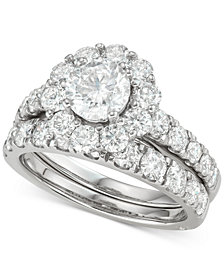Marchesa Certified Diamond Bridal Set (3 ct. t.w.) in 18k White, Yellow and Rose Gold