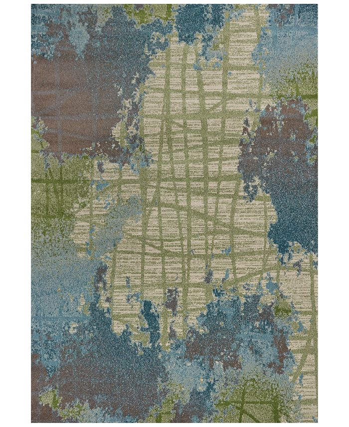 "Kas - Illusions Visions 6207 Green/Blue 6'7"" x 9'6"" Area Rug"