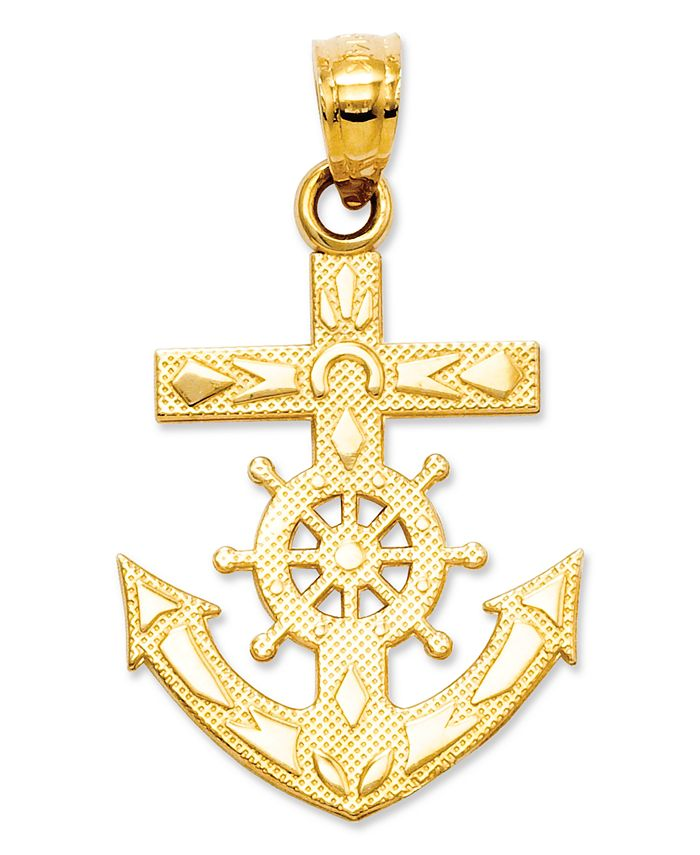 Macy's - 14k Gold Charm, Mariner's Cross Charm