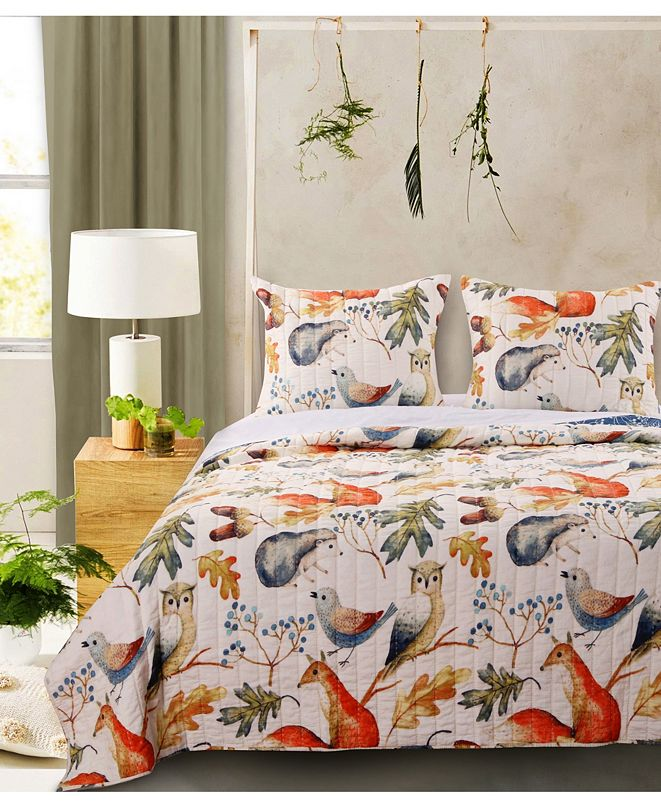 Greenland Home Fashions Willow Quilt Set, 3-Piece Full - Queen
