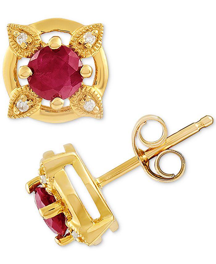 Macy's - Ruby (5/8 ct. t.w.) & Diamond Accent Stud Earrings in 14k Gold