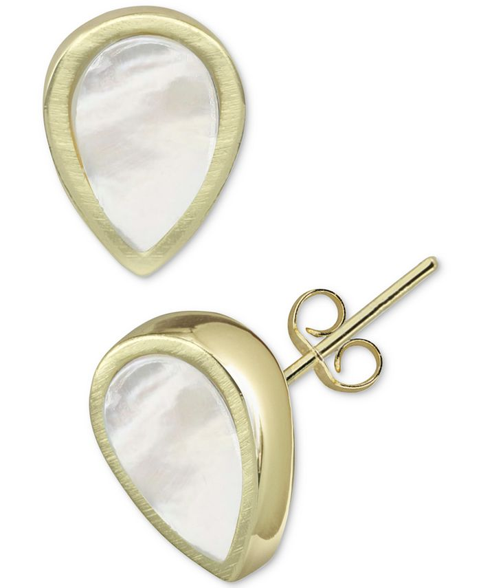 Argento Vivo - Mother-of-Pearl Teardrop Stud Earrings in Gold-Plated Sterling Silver
