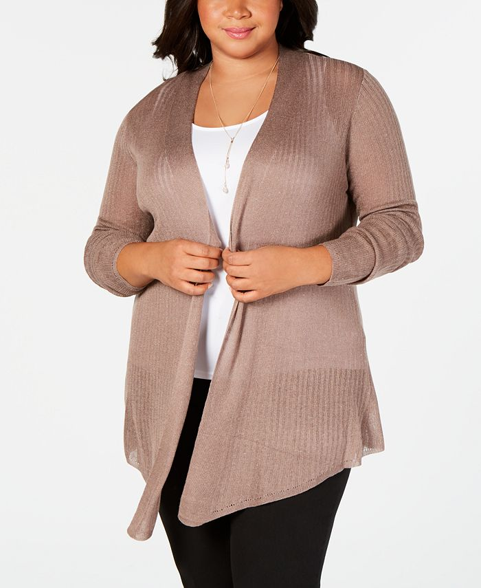 Belldini - Plus Size Pointed-Hem Open-Front Cardigan