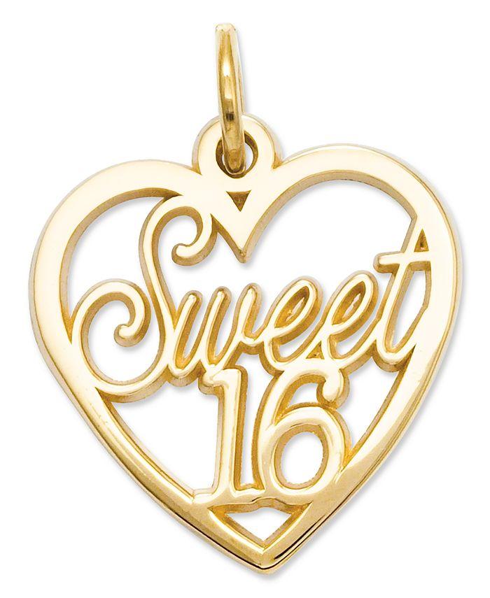 Macy's - 14k Gold Charm, Sweet 16 Heart Charm