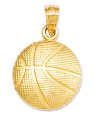 14k Gold Charm Basketball Charm