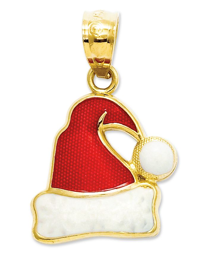 Macy's - 14k Gold Charm, Red and White Santa Hat Charm