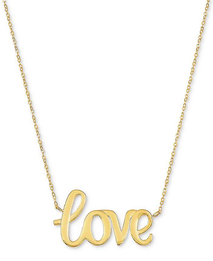 "Macy's - Love 18"" Pendant Necklace in 10k Gold"