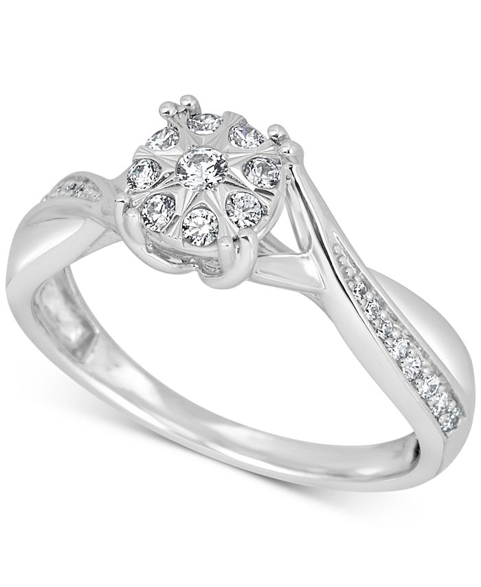 Promised Love - Diamond Cluster Promise Ring (1/4 ct. t.w.) in 14k White Gold
