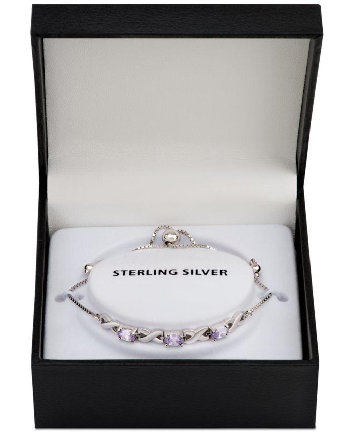 Macy's Blue Topaz Bolo Bracelet (1-3/4 ct. t.w.) in Sterling Silver (Also in Amethyst, Sapphire & Simulated Opal) & Reviews - Bracelets - Jewelry & Watches - Macy's