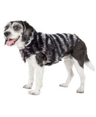 Luxe 'Chauffurry' Beautiful Zebra Patterned Faux Fur Dog Coat Jacket